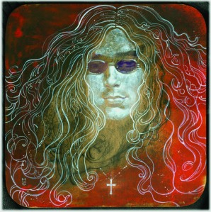 "Ian Paice by Harvey Chan, acrylic on MDF board, 12"" x 12"" $450"