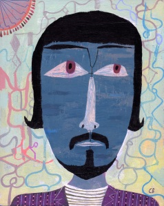 "Jimmy Carl Black by Calef Brown, acrylic on wood panel, 8"" x 10"" $800"