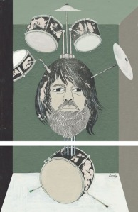 "Robert Wyatt by Philippe Lardy, ink & acrylic, 15"" x 7"" $1000"