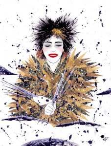 "Sheila E. by Fernanda Cohen, goauche & ink on paper, 12"" x 16"" $1200"